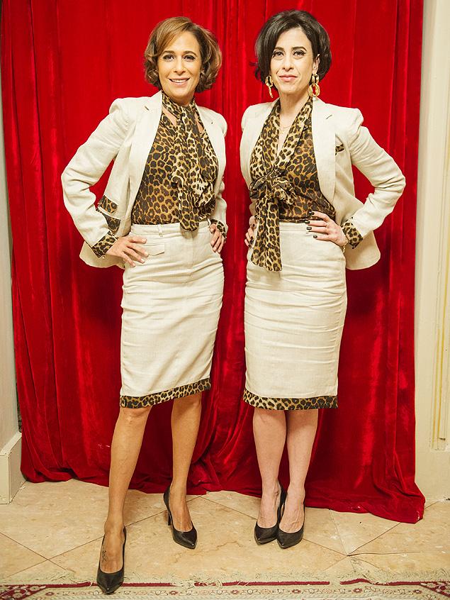 Onça Sueli (Andréa Beltrão) e Fátima (Fernanda Torres) ganham uniforme repaginado da Djalma Noivas, em Tapas & Beijos' (Globo)