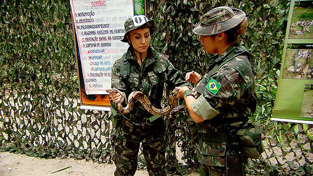 CORAGEM: Sabrina Sato enfrenta treinamento no Batalhão de Infantaria na Amazônia, com direito a cobras e outros perigos; no ar sábado (22), na Record (crédito: Rede Record)