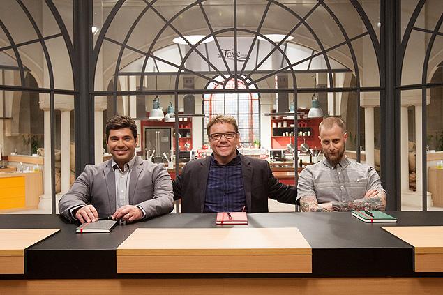 """SABOR: Felipe Bronze, Claude Troisgros e André Mifano são o júri de """"The Taste Brasil"""", novo reality show de gastronomia que estreia no GNT em 2015 (crédito: divulgação)"""