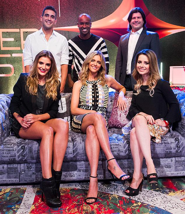 André Marques, Thiaguinho, Paulo Ricardo, Rafa Brites, Fernanda Lima e Sandy Leah (Foto Folhapress)