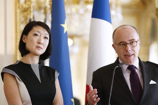 O ministro francês das Relações Interiores, Bernard Cazeneuve, e a Ministra francesa de Cultura, Fleur Pellerín. (Foto Folhapress)