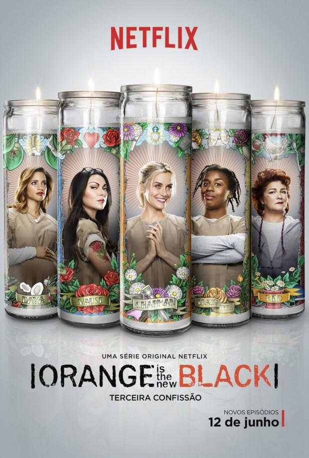 Pôster da terceira temporada de 'Orange Is the New Black', que estreia no dia 12 de junho no Netflix (Divulgação)