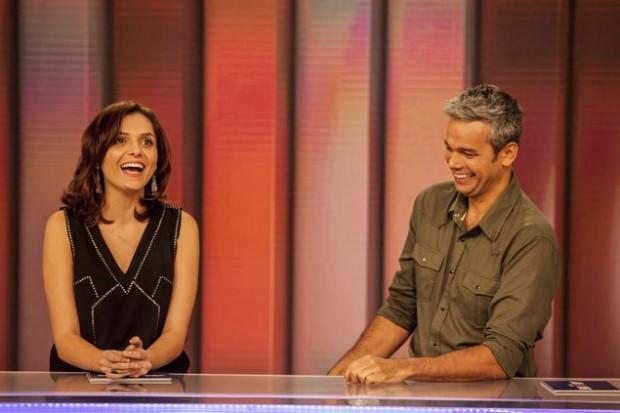 Monica Iozzi e Otaviano Costa durante apresentação do 'Vídeo Show' (Globo)