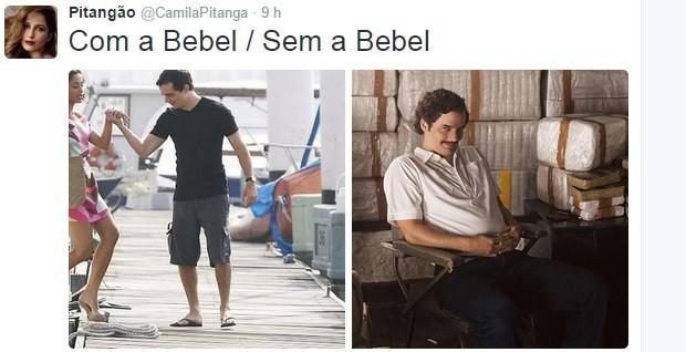 >> Camila Pitanga postou no Twitter brincadeira com Wagner Moura, mostrando ele com sua personagem Bebel na novela 'Paraíso Tropical' e o ator em 'Narcos' (Reprodução Twitter)