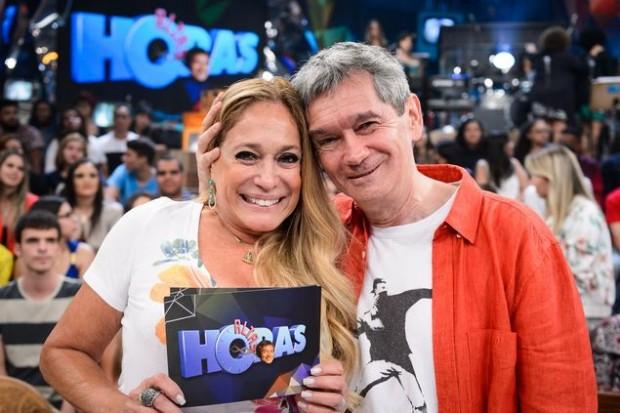 Susana Vieira e Serginho Groisman na gravação de 'Altas Horas' (Globo) (Ramón Vasconcelos/Divulgação)