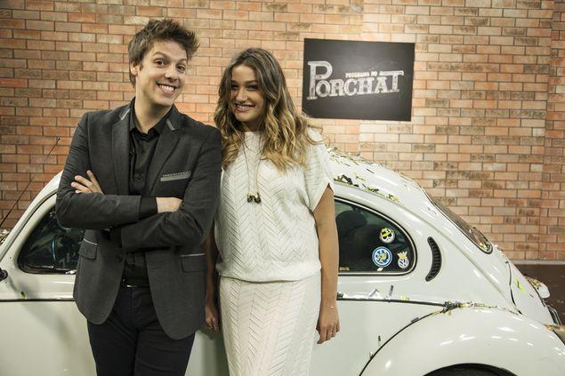 Porchat e Sasha no programa de estreia (Edu Moraes/Divulgação)