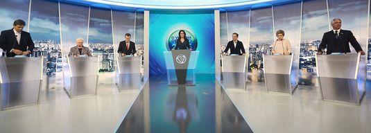 Candidatos à Prefeitura de SP no debate da TV Record (Zanone Fraissat/Folhapress)