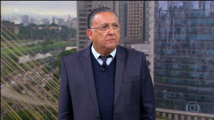 Galvão Bueno durante a transmissão ao vivo da Globo sobre a tragédia com o Chapecoense (Reprodução)