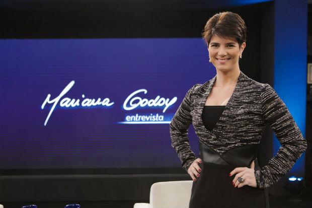 A jornalista Mariana Godoy em seu talk show da RedeTV! (Divulgação)